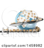 Poster, Art Print Of 3d White Men Working On A Shipping Conveyor Belt Around A Globe On A White Background