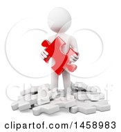 Poster, Art Print Of 3d White Man Holding A Red Puzzle Piece On A White Background