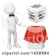 Clipart Of A 3d White Man Presenting A Floating Cube With Text On A White Background Royalty Free Illustration