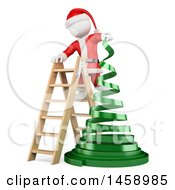 Clipart Of A 3d White Man Santa Assembling A Ribbon Christmas Tree On A White Background Royalty Free Illustration by Texelart
