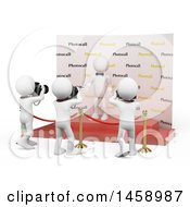 Clipart Of A 3d White Man Celebrity Getting His Picture Taken On A White Background Royalty Free Illustration