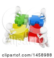 Poster, Art Print Of 3d White Men Pushing Together Puzzle Pieces On A White Background