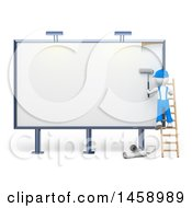 Clipart Of A 3d White Man Working On A Billboard On A White Background Royalty Free Illustration