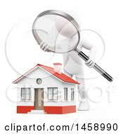 3d White Man Home Inspector Over A House On A White Background