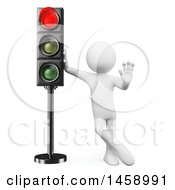 Clipart Of A 3d White Man At A Red Stop Light On A White Background Royalty Free Illustration