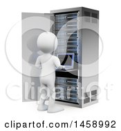Clipart Of A 3d White Man Working On A Server Tower On A White Background Royalty Free Illustration