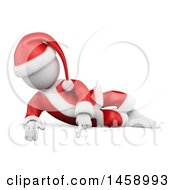 Clipart Of A 3d White Man Santa Pointing Down On A White Background Royalty Free Illustration