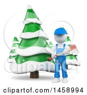 Poster, Art Print Of 3d White Man Lumberjack With Evergreen Trees On A White Background