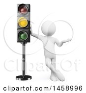Clipart Of A 3d White Man At A Yellow Light On A White Background Royalty Free Illustration