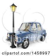 Clipart Of A 3d White Man Driver After Crashing Into A Lamp On A White Background Royalty Free Illustration