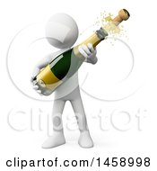 Poster, Art Print Of 3d White Man Popping Champagne On A White Background