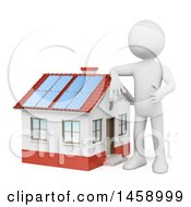 Poster, Art Print Of 3d White Man Leaning On A Home With A Solar Roof On A White Background
