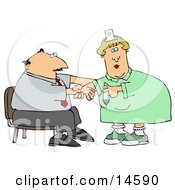 Nervous Businessman Sitting In A Chair And Reaching Out To A Female Nurse While She Prepares A Syringe To Give Him A Flu Shot In The Arm At A Medical Clinic