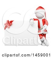 Clipart Of A 3d White Man Santa Presenting A Sign On A White Background Royalty Free Illustration
