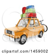 Poster, Art Print Of 3d White Family Going On Vacation In Their Car On A White Background