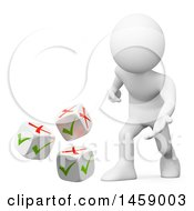 Clipart Of A 3d White Man Rolling Check Or X Mark Dice On A White Background Royalty Free Illustration by Texelart