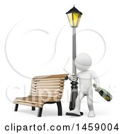 3d Drunk White Man Holding Onto A Lamp Post On A White Background