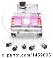 Poster, Art Print Of 3d White Wedding Couple Driving Away In A Car On A White Background
