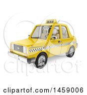 Poster, Art Print Of 3d White Man Riding In A Taxi On A White Background