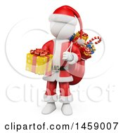 Clipart Of A 3d White Man Santa Holding A Gift On A White Background Royalty Free Illustration by Texelart