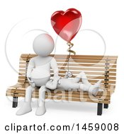 Poster, Art Print Of 3d White Couple With A Love Balloon On A Bench On A White Background