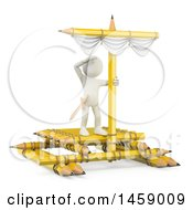 Clipart Of A 3d White Man On A Pencil Raft On A White Background Royalty Free Illustration