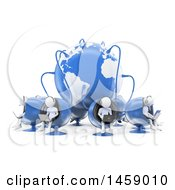 Clipart Of A 3d Team Of White Men Working In A Call Center Connected To A Globe On A White Background Royalty Free Illustration