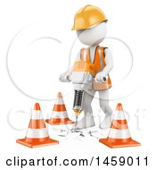 3d White Man Worker Using A Jackhammer On A White Background