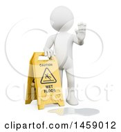 Clipart Of A 3d White Man With A Wet Floor Sign On A White Background Royalty Free Illustration