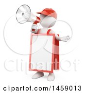 Clipart Of A 3d White Man Wearing A Sandwich Board And Using A Megaphone On A White Background Royalty Free Illustration
