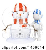 Clipart Of A 3d White Man With A Snowman On A White Background Royalty Free Illustration
