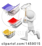 Clipart Of A 3d White Man Chasing Flying Books With A Net On A White Background Royalty Free Illustration