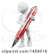 3d White Man With A Giant Pen On A White Background