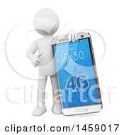 Clipart Of A 3d White Man With A 4g Cell Phone On A White Background Royalty Free Illustration