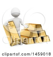 Poster, Art Print Of 3d White Man With Gold Bullion On A White Background