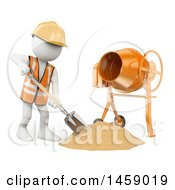 3d White Man Worker Using A Concrete Mixer On A White Background