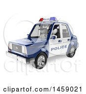 Poster, Art Print Of 3d White Man Driving A Police Car On A White Background
