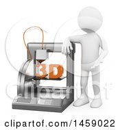 3d White Man Presenting A 3d Printer On A White Background