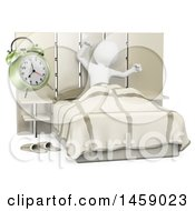 Poster, Art Print Of 3d White Man Stretching And Waking Up On A White Background