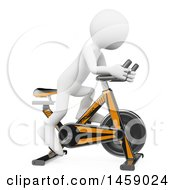 Clipart Of A 3d White Man Exercising On A Spin Bike On A White Background Royalty Free Illustration