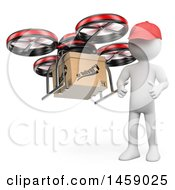 Poster, Art Print Of 3d White Man With A Delivery Drone On A White Background