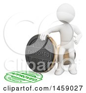 Clipart Of A 3d White Man With An Approved Stamp On A White Background Royalty Free Illustration