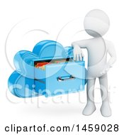 Clipart Of A 3d White Man Presenting A Cloud Drawer On A White Background Royalty Free Illustration