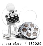 Clipart Of A 3d White Man Movie Director On A White Background Royalty Free Illustration