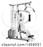 Poster, Art Print Of 3d White Man Working Out On A Machine On A White Background