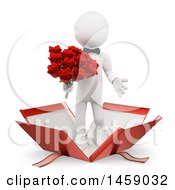 Poster, Art Print Of 3d White Man Holding Roses And Popping Out Of A Gift Box On A White Background