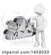 Clipart Of A 3d White Man With A Cloud Safe On A White Background Royalty Free Illustration