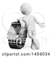 Clipart Of A 3d White Man Leaning On A Smart Watch On A White Background Royalty Free Illustration
