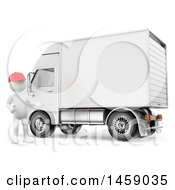 Clipart Of A 3d White Man Delivery Driver By A Truck On A White Background Royalty Free Illustration