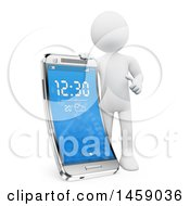 Clipart Of A 3d White Man With A Flexible Smart Screen Cell Phone On A White Background Royalty Free Illustration